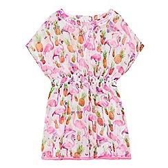 bluezoo - Girls' pink tropical print kaftan dress