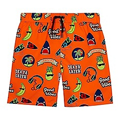 bluezoo - Boys' orange badge print swim shorts