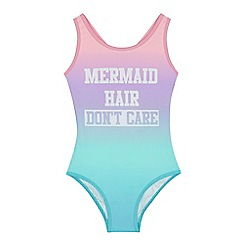 bluezoo - 'Girls' multi-coloured 'Mermaid hair don't care' print swimsuit