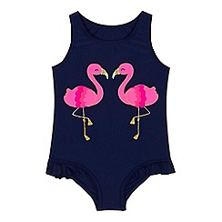 bluezoo - Girls' navy flamingo embroidered swimsuit