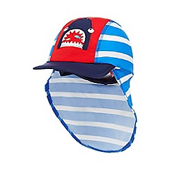 bluezoo - Boys' blue striped shark applique keppi hat