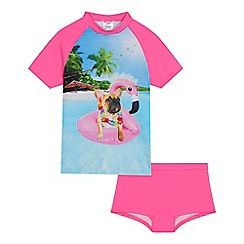 bluezoo - 'Girls' pink dog print rash vest and shorts set