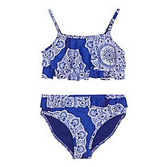 Mantaray - Girls' blue mandala print bikini