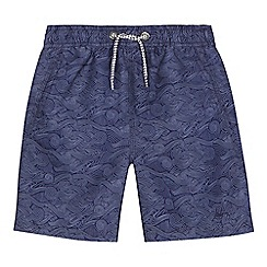 Mantaray - Boys' navy wave print swim shorts