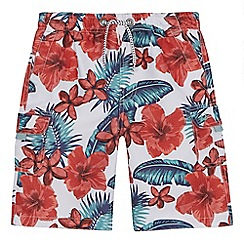 Mantaray - 'Boys' white floral print swim shorts