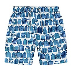 Mantaray - 'Boys' navy beach hut print swim shorts