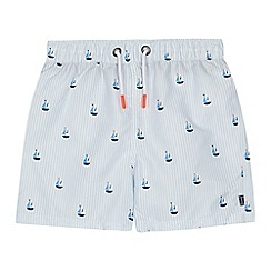 J by Jasper Conran - Boys' blue stripe boat print swim shorts