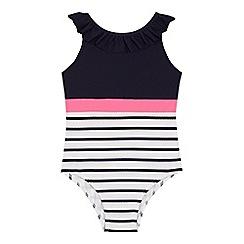J by Jasper Conran - Girls' navy stripe print ruffle neck swimsuit