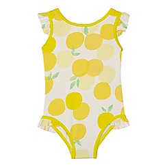 J by Jasper Conran - 'Girls' yellow lemon print swimsuit