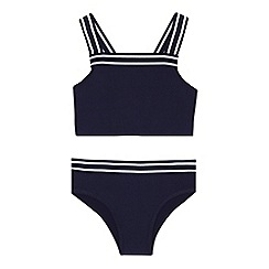 J by Jasper Conran - Girls' navy textured tankini