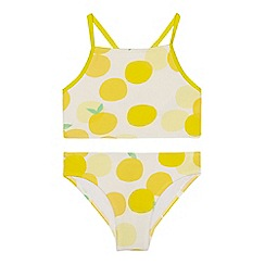 J by Jasper Conran - 'Girls' yellow lemon print tankini