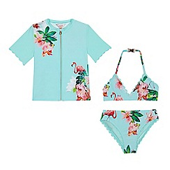 Baker by Ted Baker - Girls' aqua flamingo print rash vest