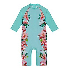 Baker by Ted Baker - Girls' aqua floral print sunsafe suit