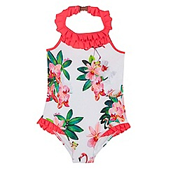 Baker by Ted Baker - Girls' white flamingo print swimsuit