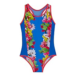 Baker by Ted Baker - Girls' blue floral print swimsuit
