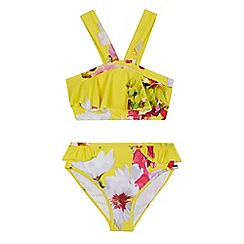 Baker by Ted Baker - 'Girls' yellow floral print bikini