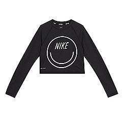 Nike - 'Girls' black logo print cropped swim top