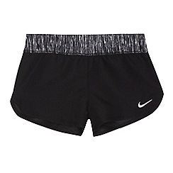 Nike - Girls' black embroidered logo swim shorts