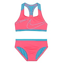 Nike - 'Girls' pink logo print bikini set