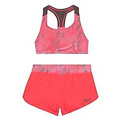 Nike - Girls' pink knitted bikini top with woven short