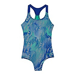 Nike - Girls' blue printed swimsuit