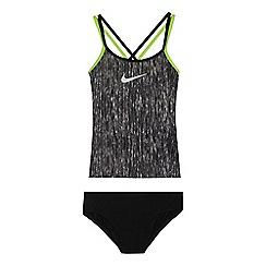 Nike - 'Girls' grey logo print tankini top and bottoms set