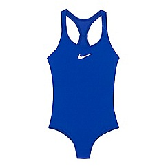 Nike - Girls' blue logo print swimsuit
