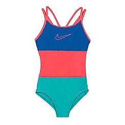 Nike - Girls' multicoloured colour block logo print swimsuit