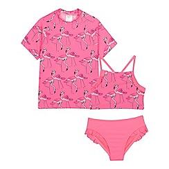 bluezoo - Girls' Pink Flamingo Print Bikini And Rash Vest Set