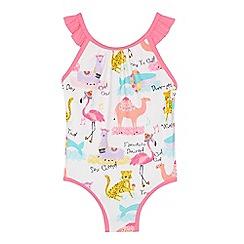 bluezoo - Girls' White Animal Print Swimsuit