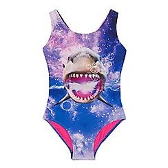 bluezoo - Girls' Purple Shark Print Swimsuit