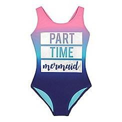 bluezoo - Girls' Purple 'Party Time Mermaid' Print Swimsuit