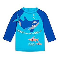 bluezoo - Boys' Blue Shark Print Rash Vest