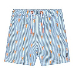 J by Jasper Conran - Boys' Light Blue Lobster Stripe Swim Shorts