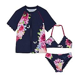 Baker by Ted Baker - Girls' navy floral print bikini and rash vest set