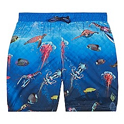 Baker by Ted Baker - Boys' Blue Deep Sea Print Swim Shorts