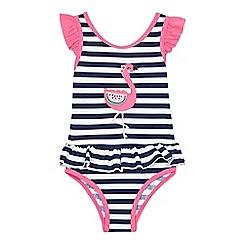 bluezoo - Girls' navy flamingo applique swimsuit