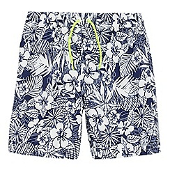 bluezoo - Boys' blue hibiscus print swim shorts