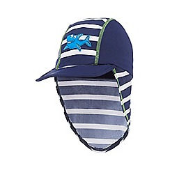 bluezoo - Boys' navy striped shark applique keppi hat