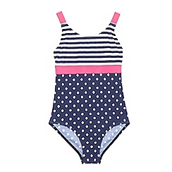 bluezoo - Girls' navy striped and polka dot print swimsuit
