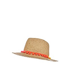 bluezoo - Girls' natural pom pom trim fedora hat