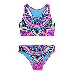 Pineapple - Girls' multi-coloured Aztec-inspired print tankini