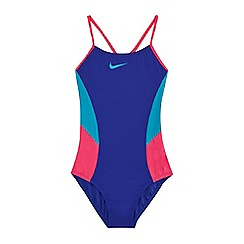 Nike - Girls' blue'Colour Surge' v-back tank swimsuit