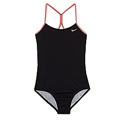 Nike - Girls' black 'Core Solid' crossback tank swimsuit