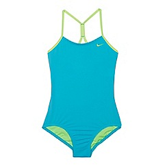 Nike - Girls' turquoise 'Core Solid' crossback tank swimsuit