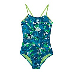 Nike - Girls' light blue 'Floral Camo' v-back tank swimsuit