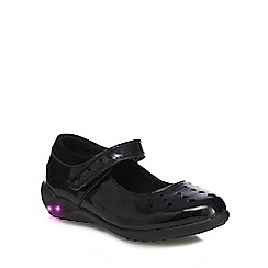 Debenhams - Girls' black scuff resistant patent light up mary jane school shoes