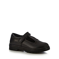 Debenhams - Girls' black scuff resistant leather scalloped t-bar shoes