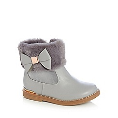 Baker by Ted Baker - Girls' grey faux fur cuff ankle boots