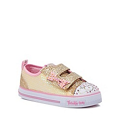Skechers - Girls' gold glitter 'Twinkle toes' trainers